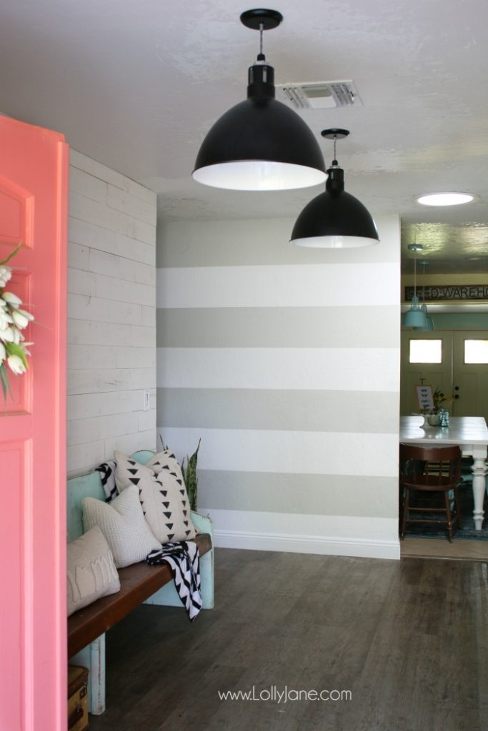 11 Diy Striped Walls | Roundup – Lolly Jane Pertaining To Stripe Wall Accents (View 11 of 15)