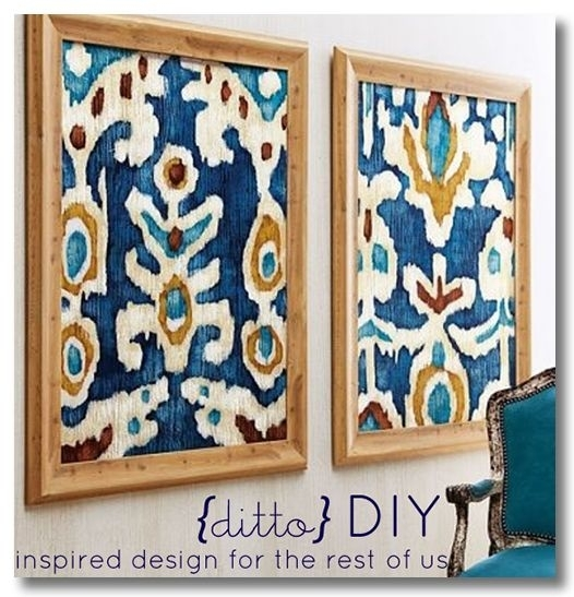 11 Inexpensive Quality Home Decor Diy Projects | Framed Fabric Art Throughout Ikat Fabric Wall Art (View 2 of 15)