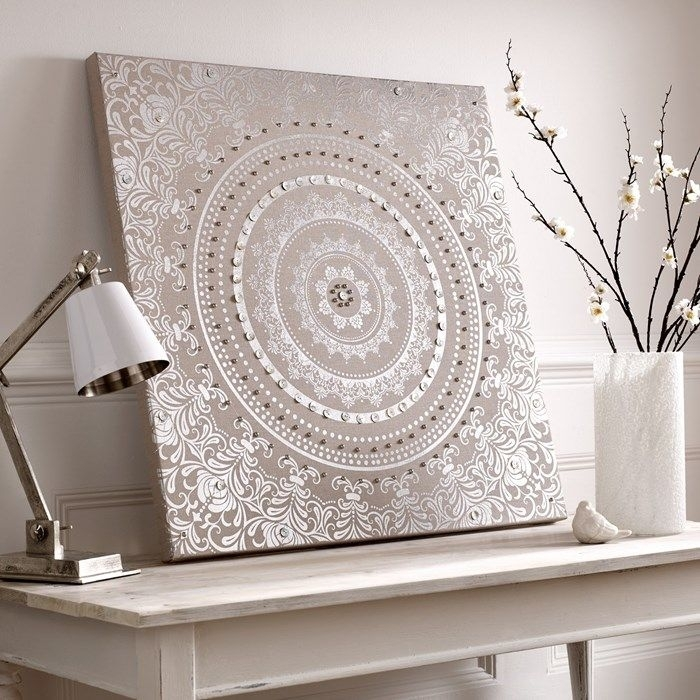 116 Best Wallpaper Images On Pinterest | Damascus, Damasks And With Regard To Embellished Canvas Wall Art (Image 1 of 15)