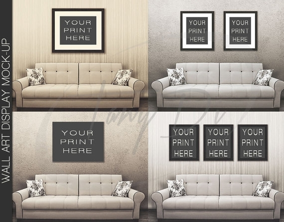 11X14 22X28 33X42 White Sofa Wall Interior 1 Black Frames In Mockup Canvas Wall Art (Image 1 of 15)