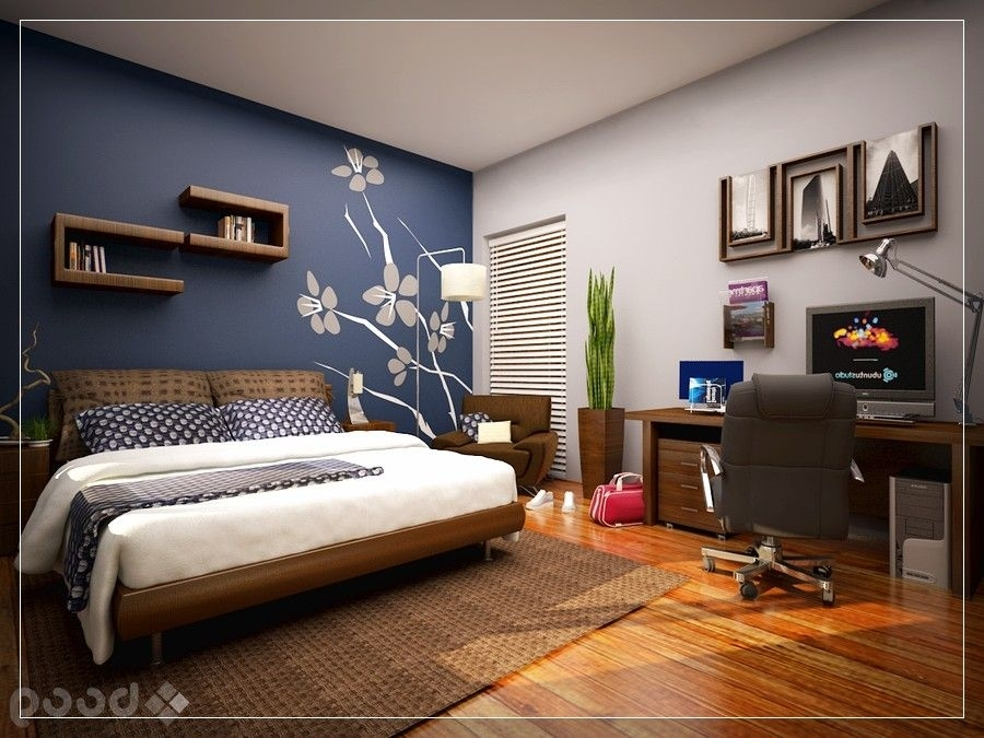 13+ Most Popular Accent Wall Ideas For Your Living Room | Blue Pertaining To Wall Accents Colors For Bedrooms (Image 2 of 15)