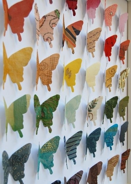 14 Best Origami Art Images On Pinterest | Diy Origami, Crafts And Regarding Fabric Butterfly Wall Art (Image 2 of 15)