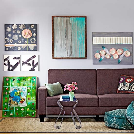 14 Easy Canvas Wall Art Projects – Better Homes & Gardens – Bhg Throughout Stretchable Fabric Wall Art (Image 4 of 15)