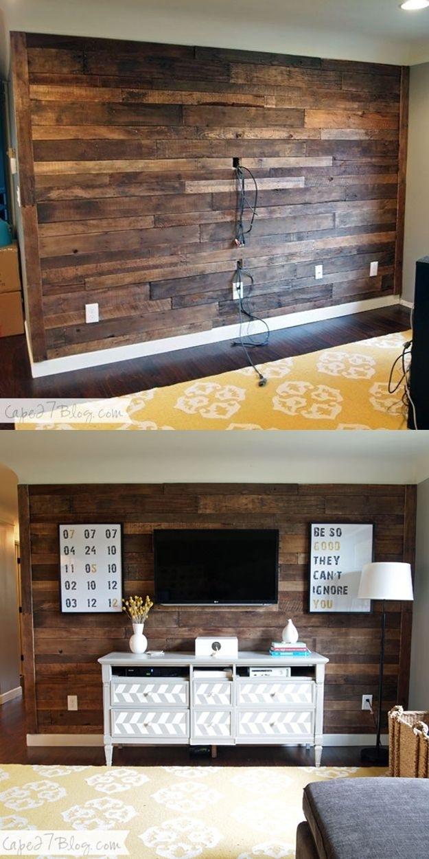 15 Beautiful Wood Accent Wall Ideas To Upgrade Your Space – Homelovr With Regard To Wood Pallets Wall Accents (Image 1 of 15)