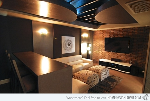 15 Contemporary Media Room Designs | Home Design Lover For Wall Accents For Media  Room (