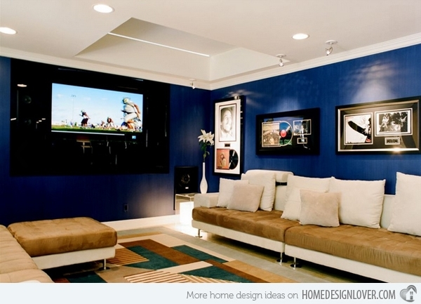 15 Lovely Living Room Designs With Blue Accents | Home Design Lover With Regard To Wall Accents For Media Room (Image 2 of 15)