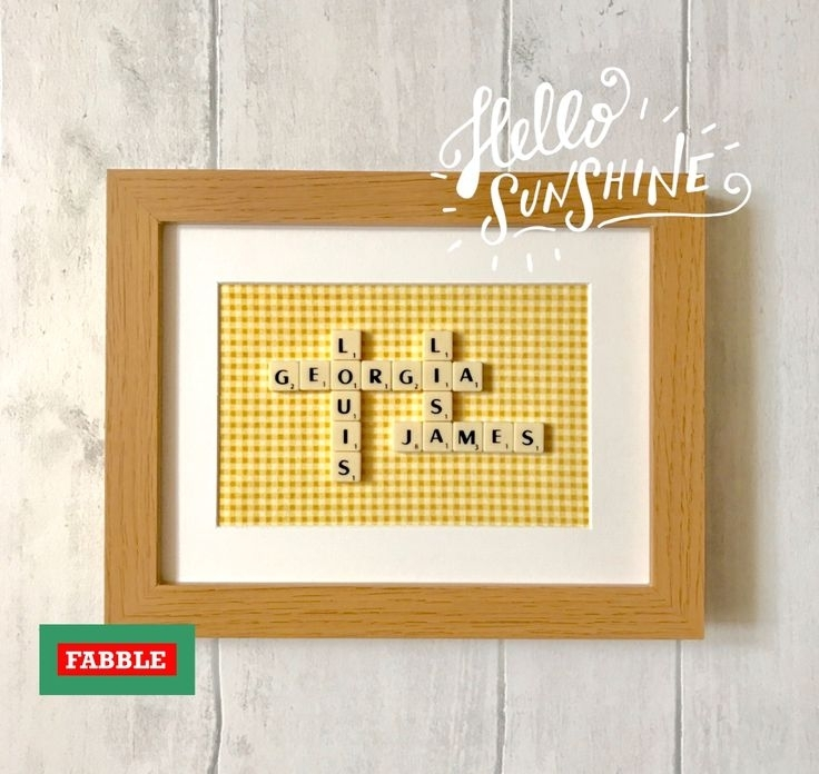16 Best Scrabble Family Name Wall Decorfabble Frames Images On inside Fabric Name Wall Art