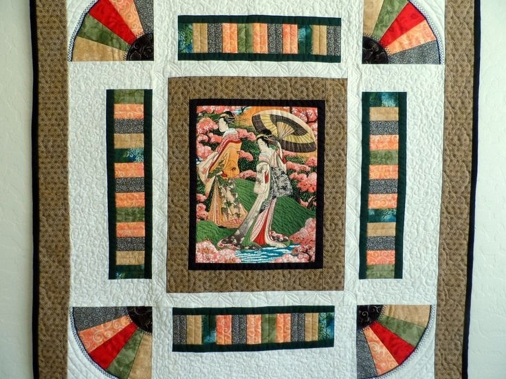 166 Best Wall Hangings Images On Pinterest | Quilted Wall Hangings For Asian Fabric Wall Art (Image 1 of 15)