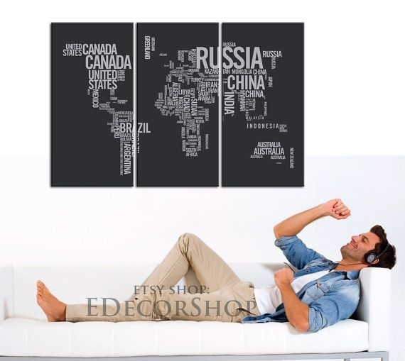17 Best Large Wall Art World Map Canvas Print Images On Pinterest Within Canvas Wall Art In Canada (Image 2 of 15)