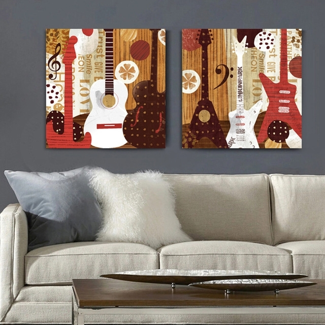 2 Panel Illustration Style Guitar Music Canvas Wall Art Home Within Music Canvas Wall Art (Image 1 of 15)