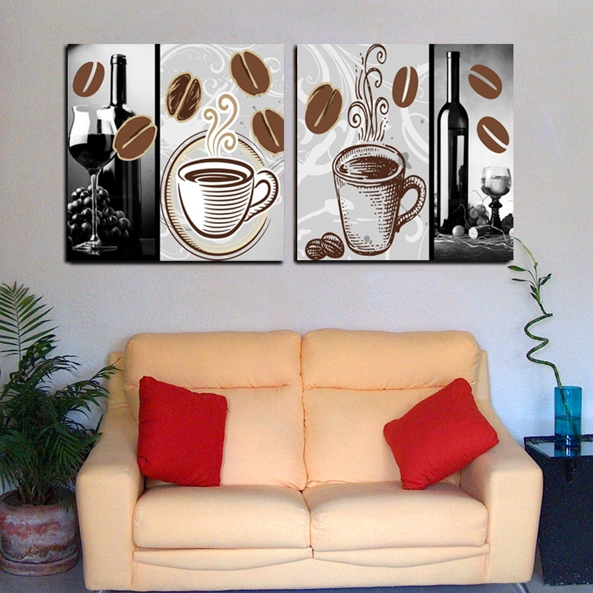 2 Panel Modern Home Decor Abstract Coffee Painting Set Canvas Throughout Coffee Canvas Wall Art (Image 2 of 15)