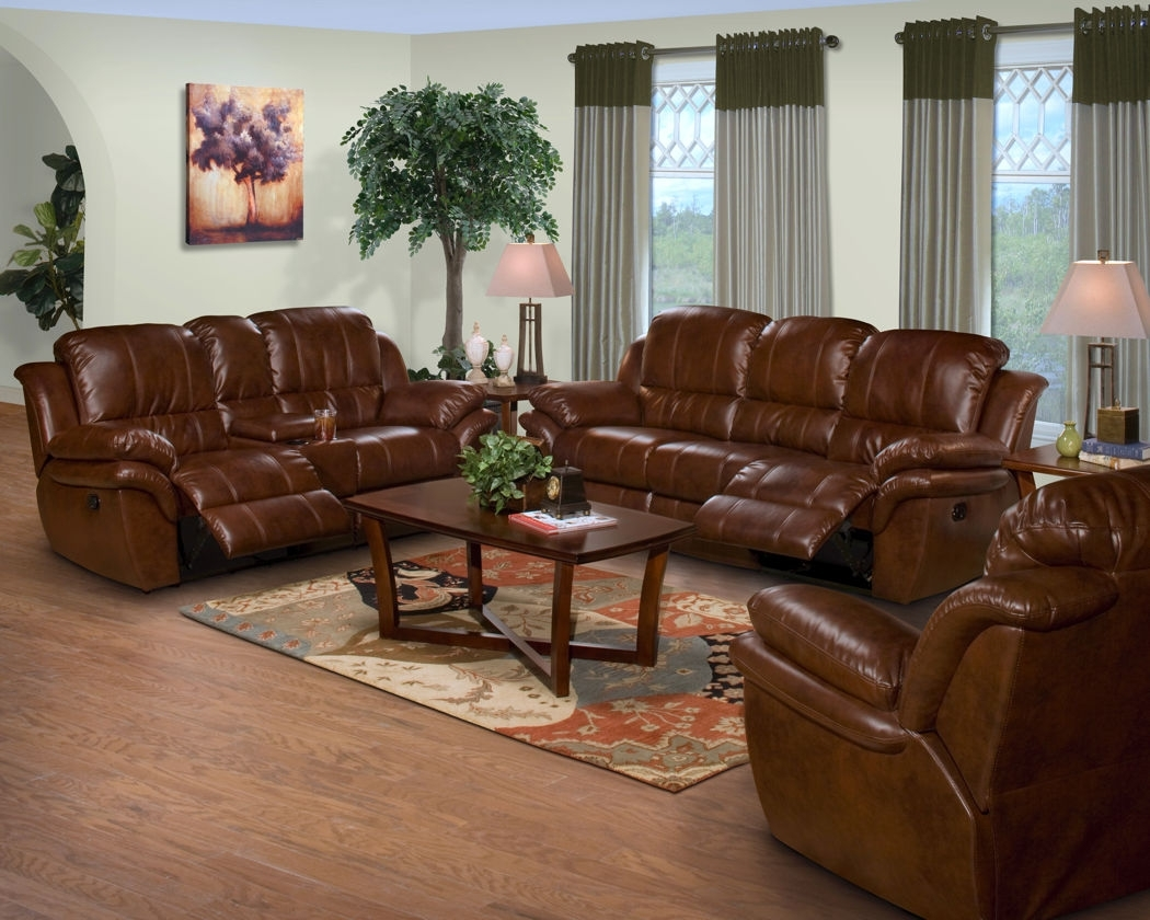 2 Pc. Brown Leather Match Cabo Standard Motion Reclining Sofa And intended for Farmers Furniture Sectional Sofas