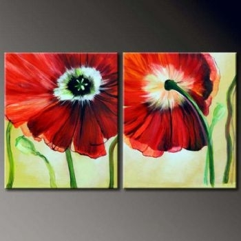 2 Pcs Floral Canvas Wall Art : Cheap Oil Paintings|Paintings For Throughout Canvas Wall Art Pairs (Image 2 of 15)