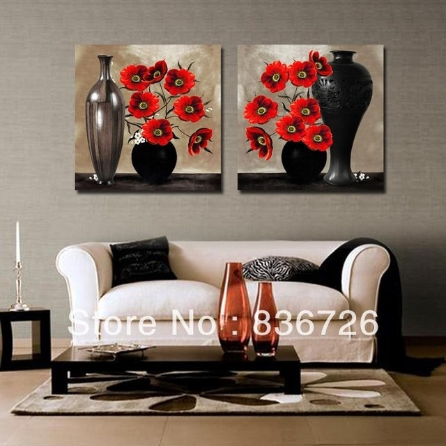 2 Piece Canvas Wall Art Abstract Paintings Black And Red Wall Intended For Abstract Office Wall Art (View 8 of 15)