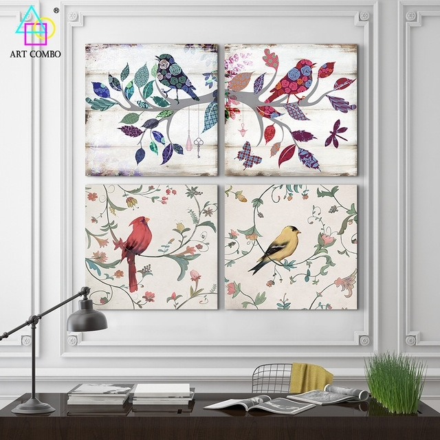 2 Pieces Canvas Painting Bird Standing On The Branch Artwork Home With Fabric Bird Wall Art (View 2 of 15)
