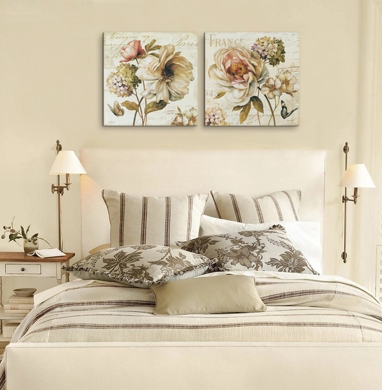 2 Pieces Chinese Rose Vintage Flowers Painting Canvas Prints Wall Throughout Retro Canvas Wall Art (View 8 of 15)