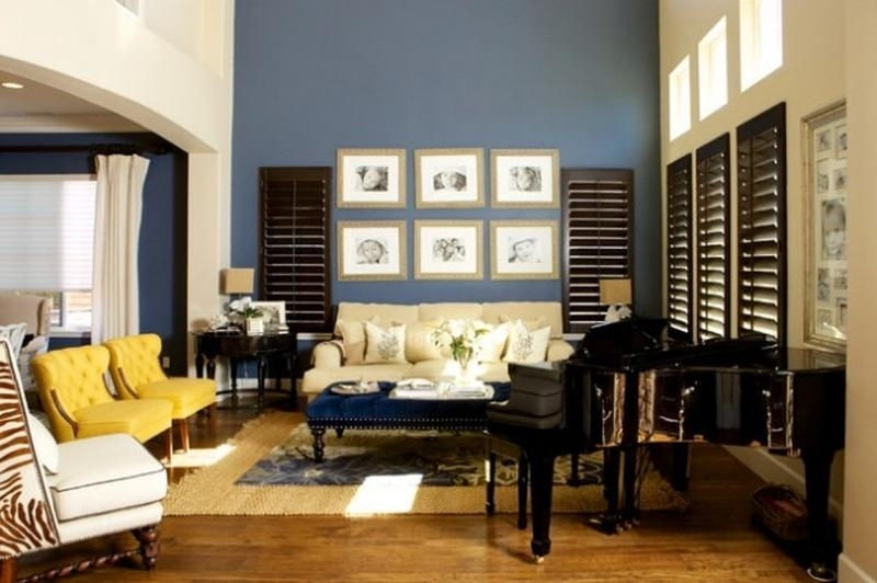 20 Charming Blue And Yellow Living Room Design Ideas – Rilane Intended For Wall Accents For Yellow Room (Image 1 of 15)