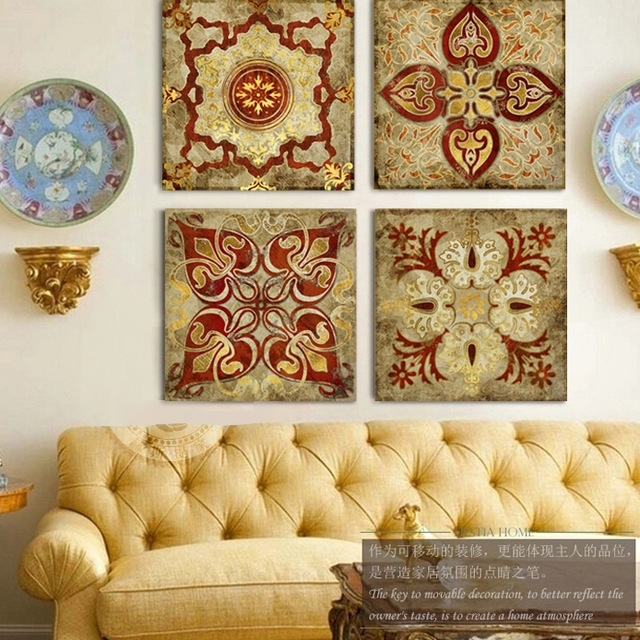 2015 India Gold Retro Ethnic Patterns Canvas Wall Art Home Pertaining To India Canvas Wall Art (Image 1 of 15)