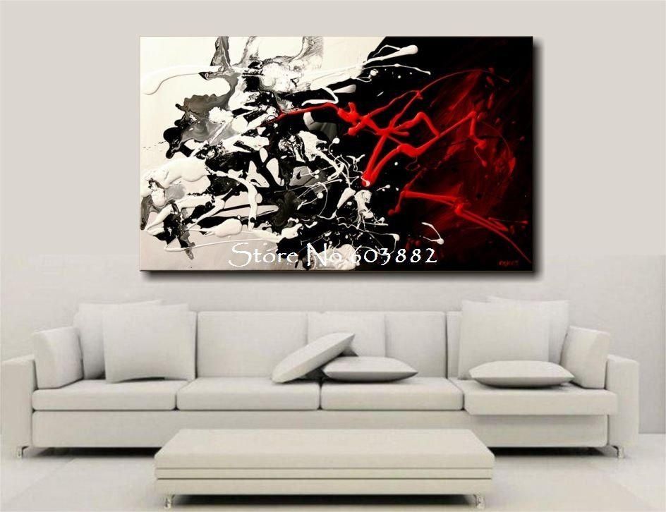 2016 100% Hand Painted Discount Large Black White And Red Abstract Regarding Black And White Canvas Wall Art (Image 1 of 15)