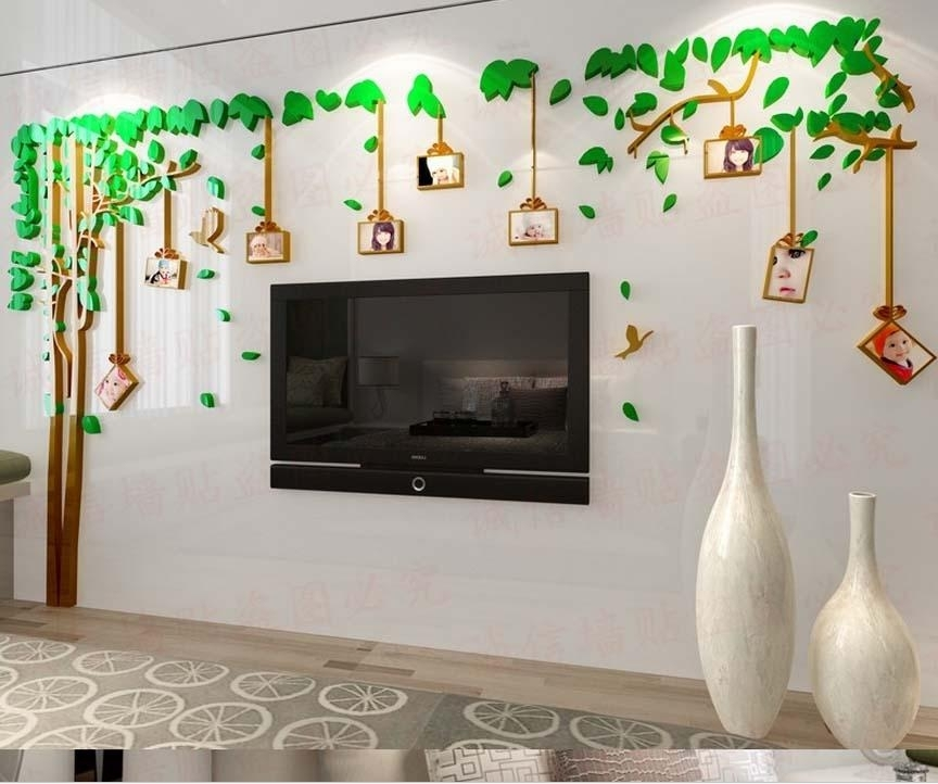 2016 Hot Acrylic 3D Photo Frame Tree Wall Stickers For Living Room In Removable Wall Accents (Image 2 of 15)