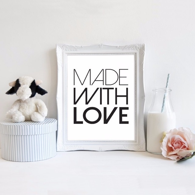 2016 New Printable Made With Love Art Quotes Print Canvas Wall Art Pertaining To Modern Nursery Canvas Wall Art (Image 2 of 15)