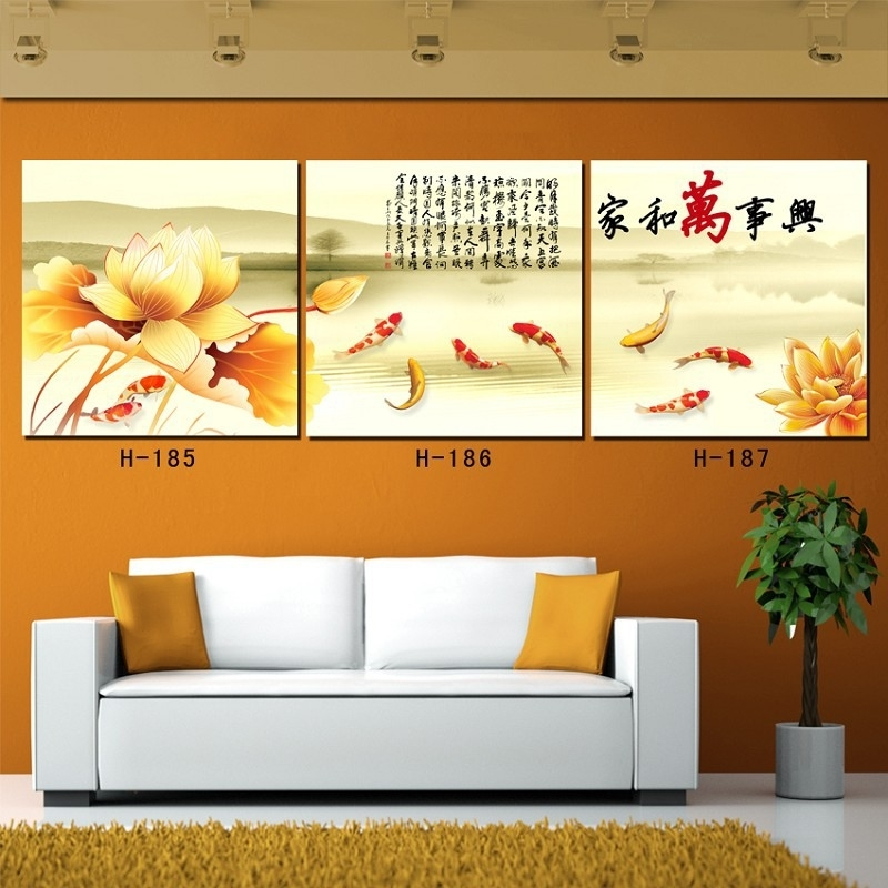 2016 Rushed Sale Square Canvas Painting No Oil Canvas Art 3 Piece Pertaining To Koi Canvas Wall Art (Image 1 of 15)