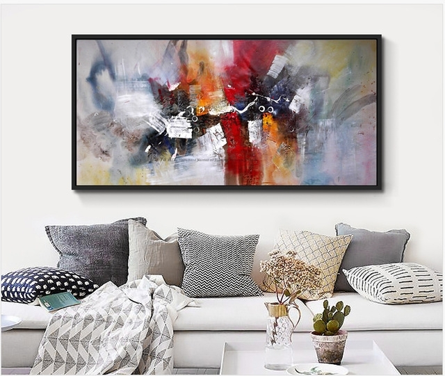 2017 100% Hand Painted Large Size Abstract Wall Art Canvas Mural With Murals Canvas Wall Art (View 11 of 15)