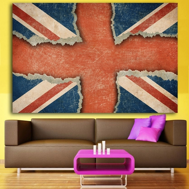2017 Canvas Wall Art Printed Union Jack Uk Flag Painting Pertaining To Union Jack Canvas Wall Art (View 6 of 15)