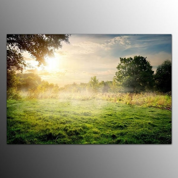 2017 Latest Design Framed Art Prints On Canvas Fog On Grassland Intended For Los Angeles Framed Art Prints (Image 2 of 15)