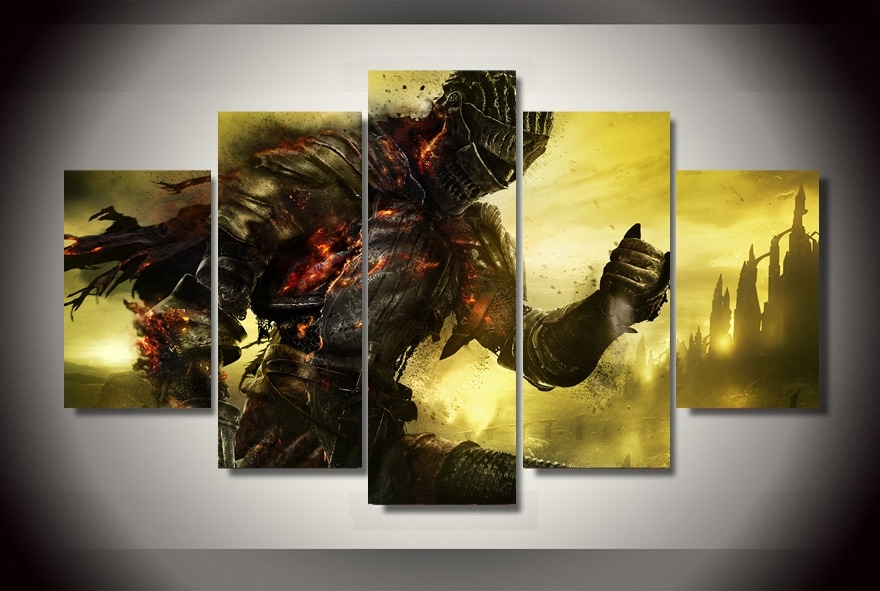 2017 Top Fashion Real No Fallout 5 Piece The Dark Knight Regarding Gaming Canvas Wall Art (View 8 of 15)