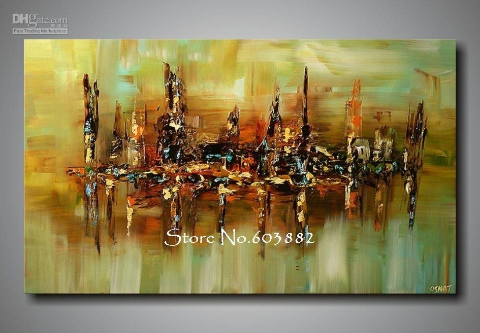 2018 100% Handpainted Abstract Canvas Wall Art High Quality Home With Huge Abstract Wall Art (Image 1 of 15)