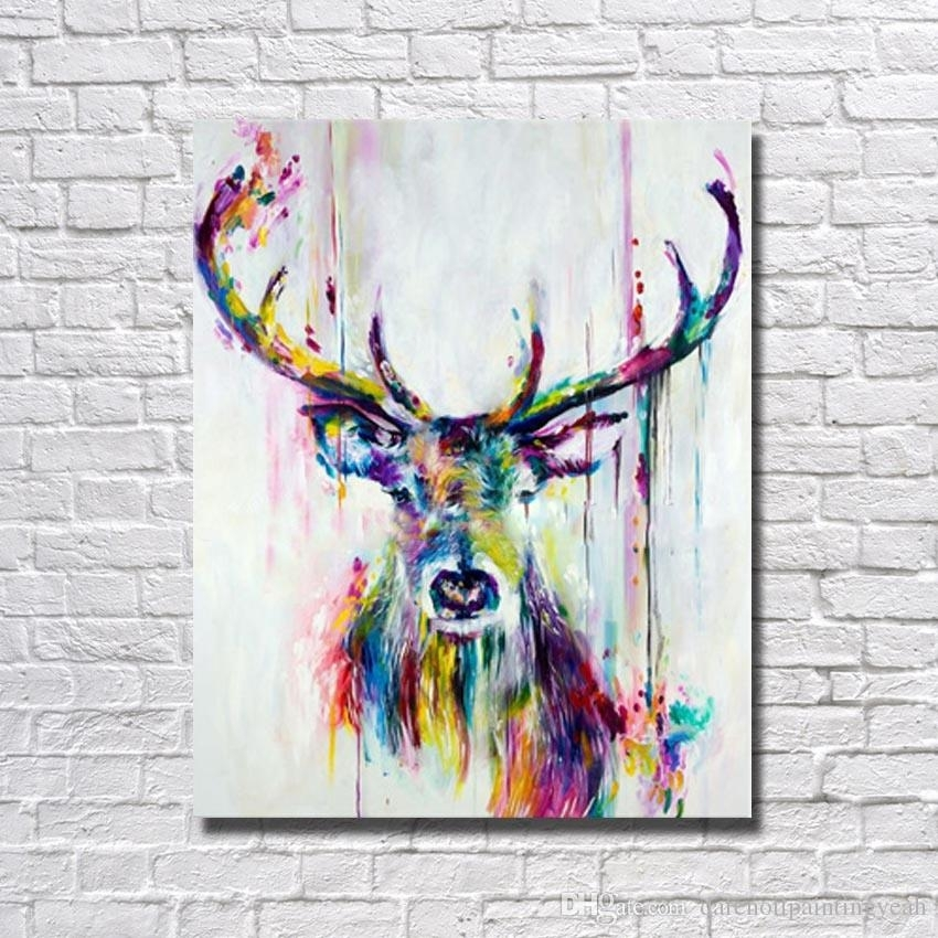 2018 1Peices Wall Canvas Art Abstract Deer Painting Living Room Regarding Deer Canvas Wall Art (Image 1 of 15)