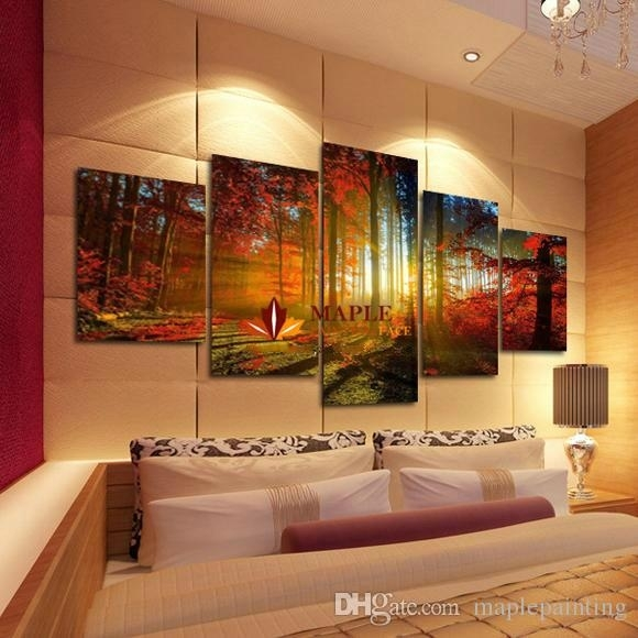 2018 5 Panel Forest Painting Canvas Wall Art Picture Home With Large Canvas Wall Art (Image 1 of 15)