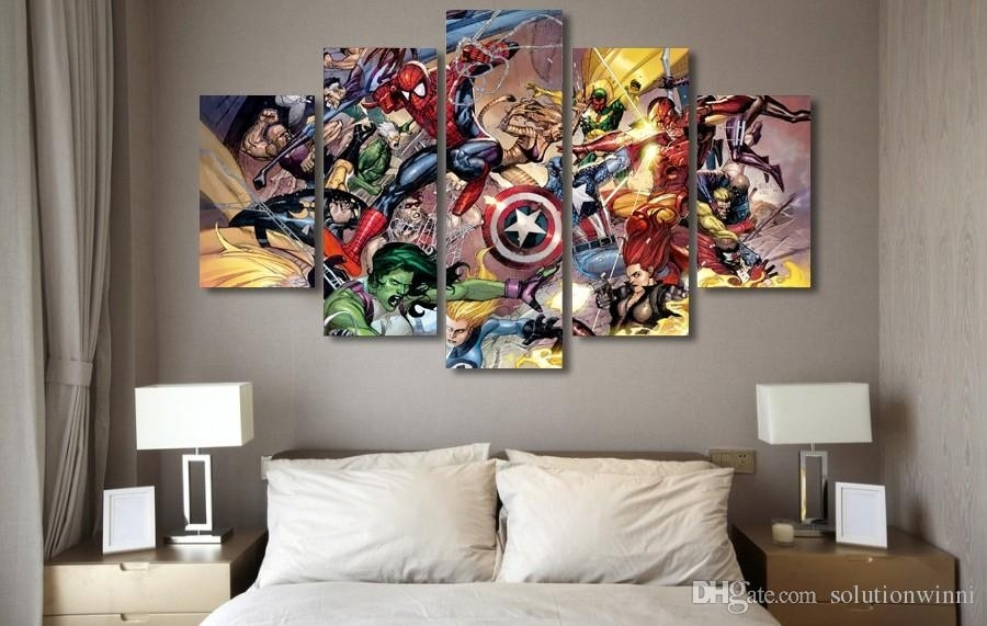 2018 5 Panel Hd Printed Marvel Action Fighting Painting Canvas Throughout Marvel Canvas Wall Art (Image 1 of 15)