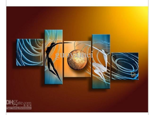 2018 5 Panel Wall Art People Love Story Blue Oil Painting On Intended For Blue And Brown Canvas Wall Art (Image 1 of 15)