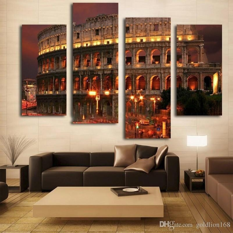 2018 Ancient Rome Famous Building Oil Painting Wall Art Home Throughout Canvas Wall Art Of Rome (Image 1 of 15)