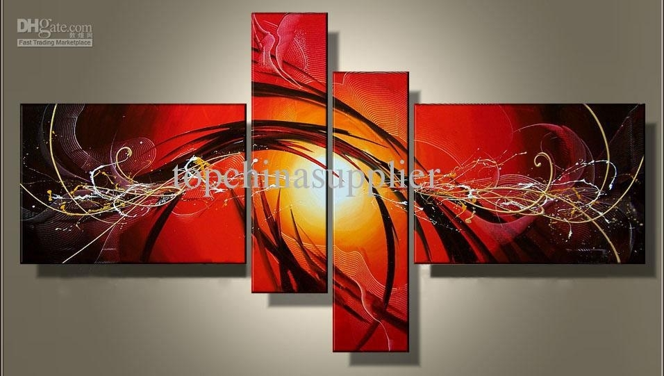 2018 Art Modern Abstract Oil Painting Multiple Piece Canvas Art With Regard To Abstract Oil Painting Wall Art (Image 3 of 15)