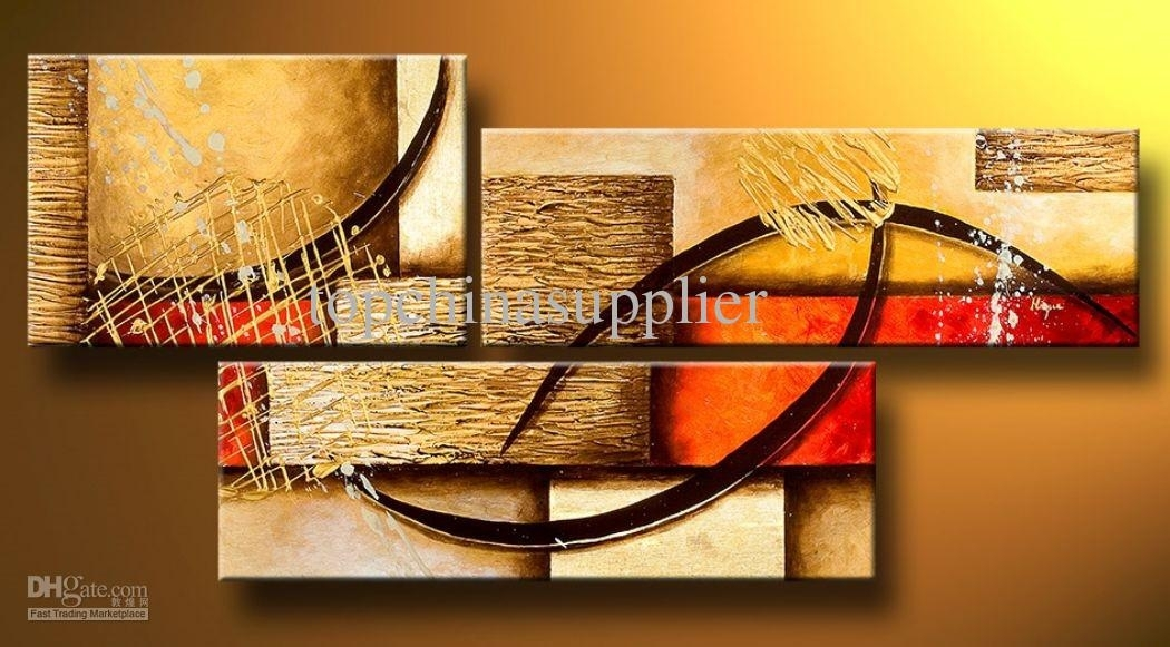 2018 Art Modern Abstract Oil Painting Multiple Piece Canvas Art With Regard To Abstract Oil Painting Wall Art (Image 2 of 15)