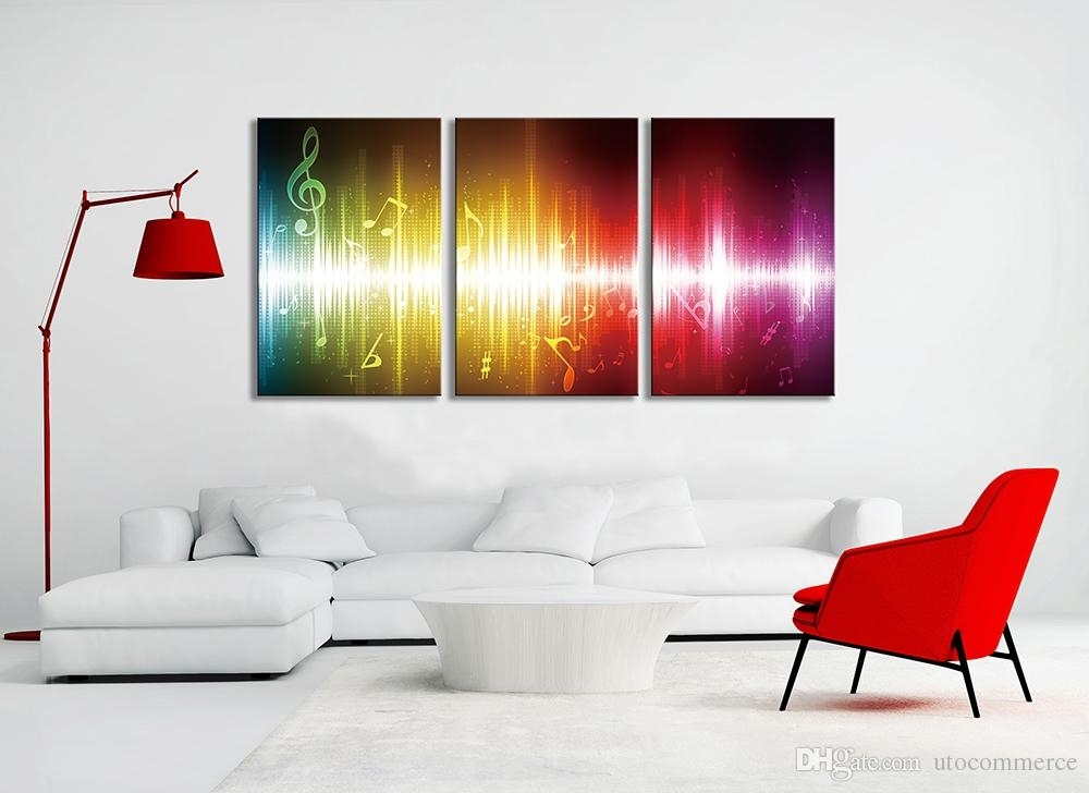 2018 Beating Music Notes Canvas Wall Art Paintings Colorful With Regard To Music Canvas Wall Art (Image 2 of 15)