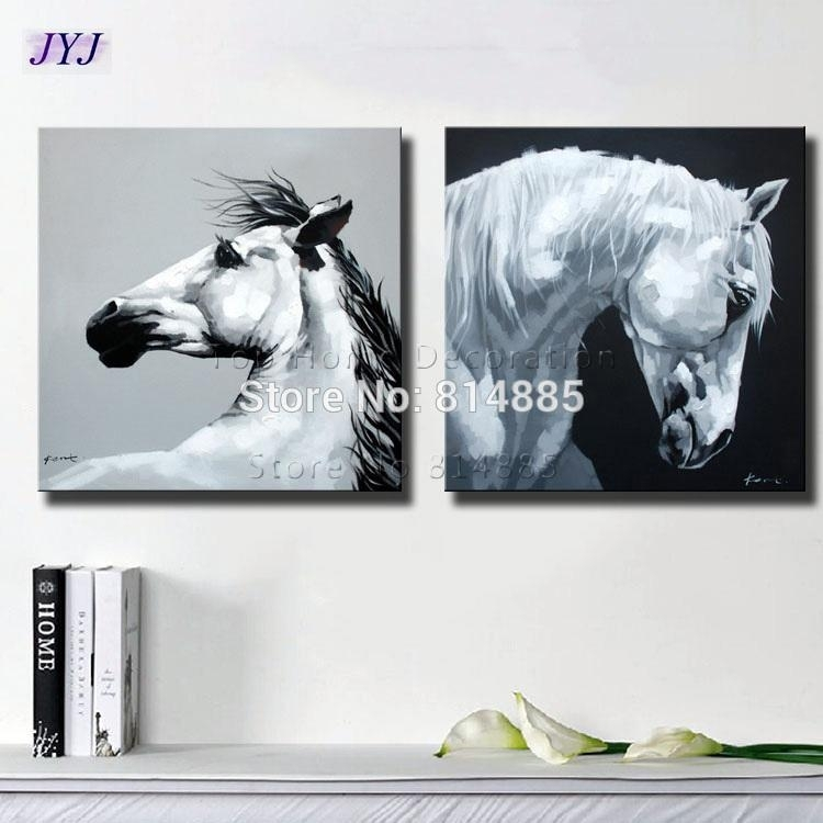 2018 Black White Horses Canvas Art Wall Picture For Living Room Within Horses Canvas Wall Art (Image 1 of 15)