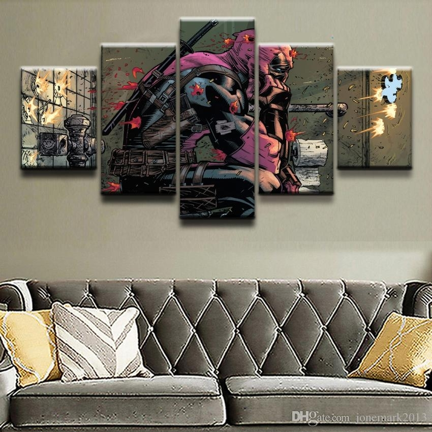 2018 Canvas Prints Paintings Framework Boys Room Decor Deadpool Regarding Marvel Canvas Wall Art (View 11 of 15)