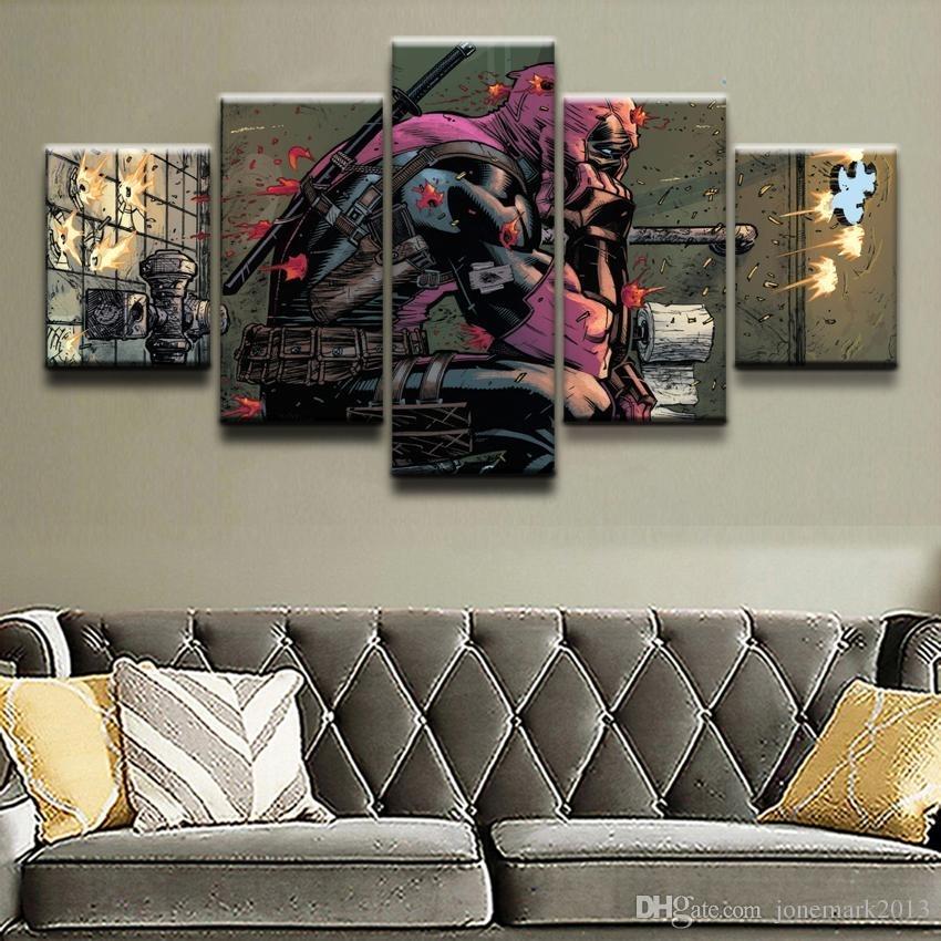 2018 Canvas Prints Paintings Framework Boys Room Decor Deadpool Regarding Marvel Canvas Wall Art (Image 3 of 15)