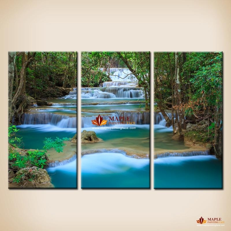 2018 Canvas Wall Art Waterfall Painting Wall Picture For Living Within Landscape Canvas Wall Art (Image 2 of 15)