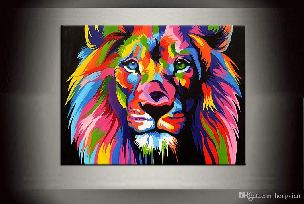 2018 Dazzle Colour Lion Painting Pictures Abstract Art Quality Throughout Abstract Lion Wall Art (Image 3 of 15)