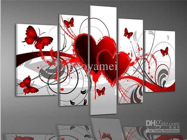 2018 Group Wall Art Red Heart Love Butterfly Oil Painting On For Hearts Canvas Wall Art (Image 1 of 15)