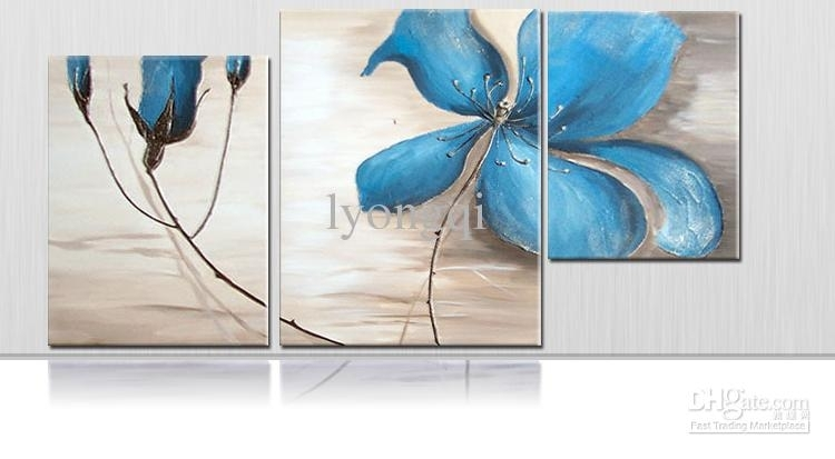 2018 Hand Painted Hi Q Modern Wall Art Home Decorative Abstract Throughout Blue Canvas Wall Art (Image 1 of 15)
