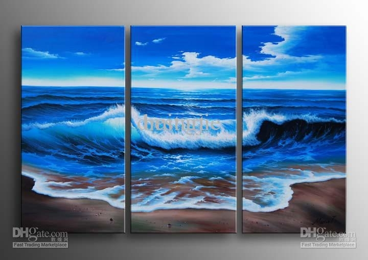 2018 Hand Painted Wall Art Blue Ocean Landscape Oil Paintings On For Ocean Canvas Wall Art (Image 3 of 15)