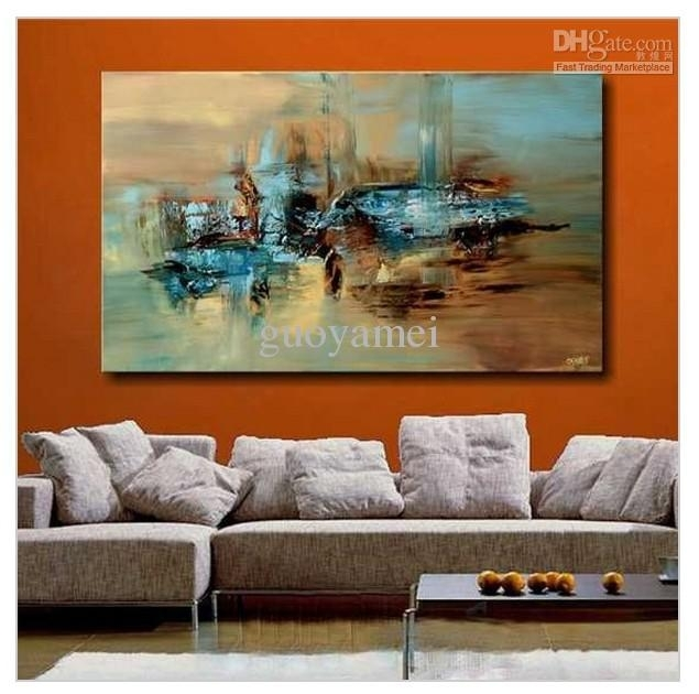 2018 Handmade Large Modern Abstract Oil Painting Wall Art On With Regard To Large Abstract Canvas Wall Art (Image 2 of 15)