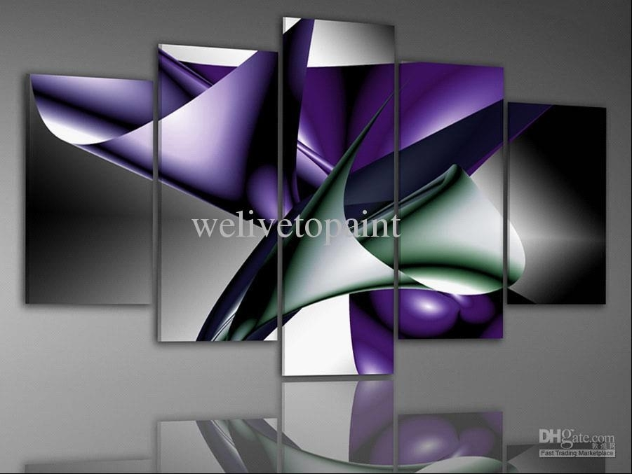 2018 In Stock! Framed 5 Panels High End Canvas Painting Modern Art Pertaining To Canvas Wall Art In Purple (View 13 of 15)