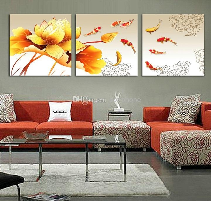 2018 Koi Fish Oil Painting On Canvas Framed 3 Panel Huge Wall Art With Regard To Koi Canvas Wall Art (Image 2 of 15)